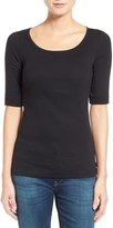 Petite Women's Caslon Ballet Neck Cotton & Modal Knit Elbow Sleeve Tee
