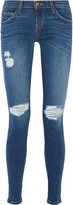 Current/Elliott The Ankle Skinny distressed mid-rise jeans