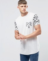 Asos Longline T-Shirt With Geo-Tribal Sleeves And Pocket In Off White