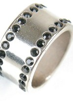Silver Crystal Ring in Jet