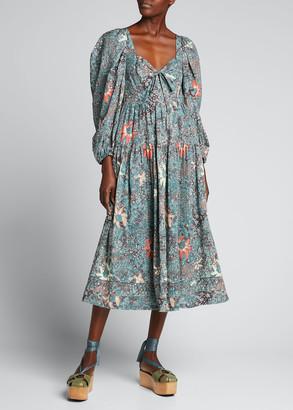 Ulla Johnson Kemala Printed Long-Sleeve Midi Dress