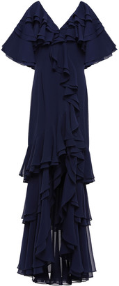 Badgley Mischka Tiered Ruffled Georgette Gown