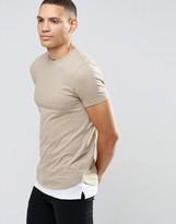 Asos Longline Muscle T-Shirt With Extended Split Hem In Beige