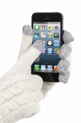Hosierydirect Womens Soft Knit Cable Design Touch Screen Smartphone Gloves Cream