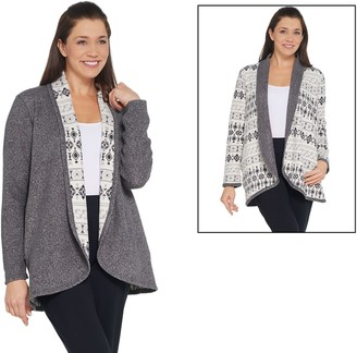 Cuddl Duds Reversible Fleece Shawl Collar Cardi