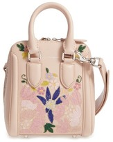 Alexander McQueen Small Heroine Flower Embroidered Leather Satchel - None