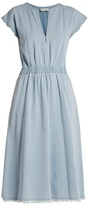 Masscob Frayed-hem V-neck denim dress
