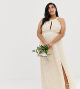 TFNC Plus Plus bridesmaid exclusive pleated maxi dress in pearl pink