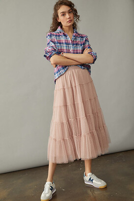 Anthropologie Serena Tiered Tulle Midi Skirt By in Blue Size S