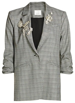 Cinq à Sept Khloe Embroidered Houndstooth Blazer