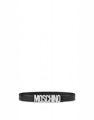 Moschino Calfskin Belt With Logo Man Black Size 46 It - (30 Us)