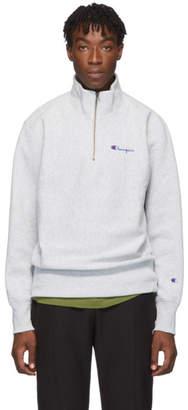 Champion Reverse Weave Grey Small Script Half-Zip Sweatshirt