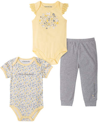 Calvin Klein Jeans Girls' Infant Bodysuits 0005 - Yellow Floral 'CK' Angel-Sleeve Bodysuit Set - Newborn & Infant