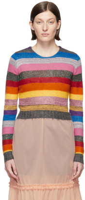 Miu Miu Multicolor Cropped Lurex Rainbow Sweater