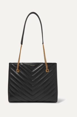 Saint Laurent Tribeca Small Quilted Textured-leather Tote - Black