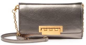 Zac Posen Eartha Medium Metallic Leather Wallet on a Chain Crossbody Bag