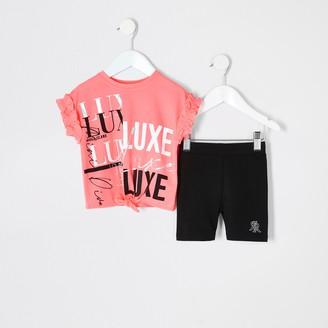 River Island Mini girls bright Pink print T-shirt outfit