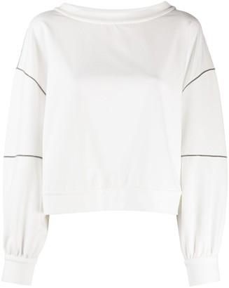Brunello Cucinelli Bead-Trimmed Stand Collar Sweatshirt