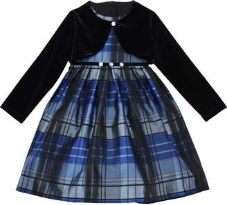 Pippa & Julie Metallic Plaid Dress & Velvet Shrug Jacket