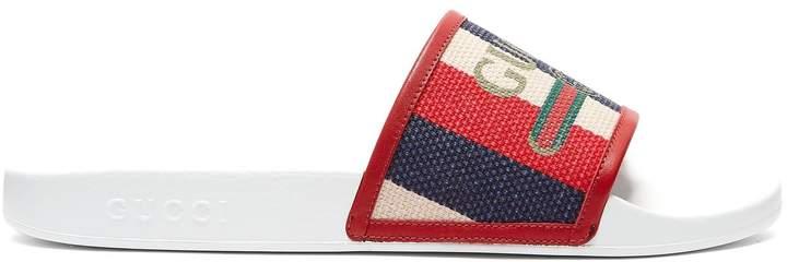 Gucci Baiadera-striped rubber slides