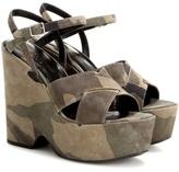 Saint Laurent Printed Suede Wedge Sandals