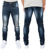 Loyalty And Faith Mens Slim Stretch Fit Biker Detail Ripped Jeans Trousers Pants
