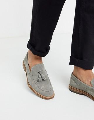 Mens Tassel Loafer Suede Grey | Shop