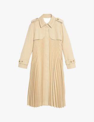 Sandro Vino belted satin-crepe coat