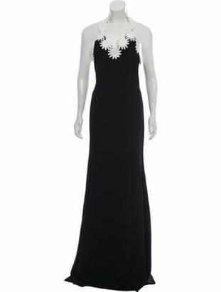 Naeem Khan Floral Evening Gown Black