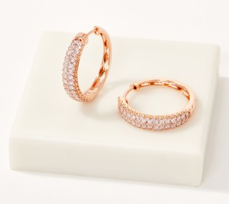 Affinity Diamond Jewelry Affinity 14K Gold Natural Pink Diamond Hoop Earrings, 1.00cttw