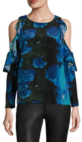 Tracy Reese Silk Printed Flounced Blouse