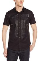 Calvin Klein Short Sleeve Woven With Tonal All Over Square Plastisol Print Design