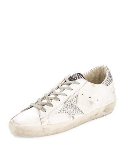 Golden Goose Superstar Crystal-Studded Low-Top Sneakers