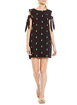 Buffalo David Bitton Tie Sleeve Cold Shoulder Embroidered Pineapple Dress