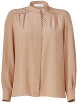 Chloé Brown Sugar Silk Shirt with Zigzag Trim
