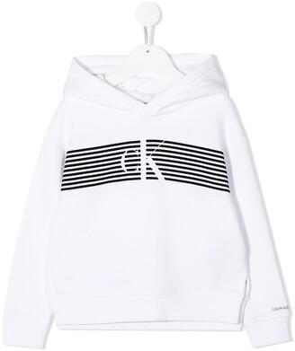 Calvin Klein Kids Striped Logo Hooded Sweatshirt
