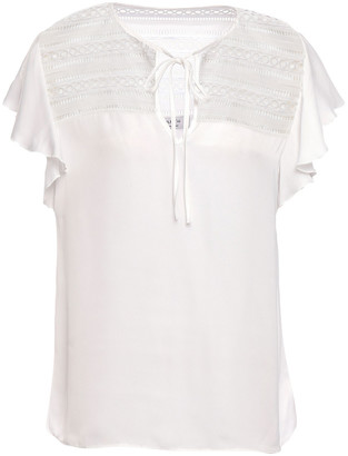Bailey 44 Ruffled Guipure Lace-trimmed Satin Top