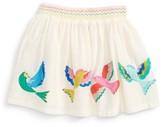 Toddler Girl's Mini Boden Tropical Birds Applique Skirt