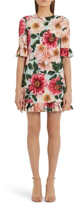 Dolce & Gabbana Ruffle Trim Floral Cady Minidress