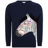 Little Marc Jacobs Little Marc JacobsGirls Navy Knitted Zebra Sweater