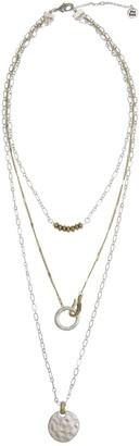 The Sak Two-Tone 3-Row Layered Pendant Necklace