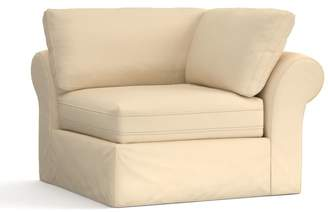 Pottery Barn PB Air Roll Arm Slipcovered Sectional Corner, Deluxe Down Blend - Washed Linen/Cotton, Camel