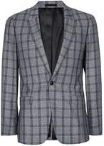 Topman Grey And Blue Check Skinny Fit Suit Jacket