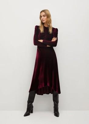 MANGO Asymmetric velvet dress maroon - 2 - Women