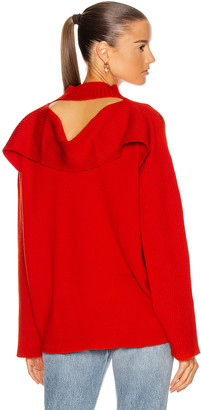 Monse Ribbed Cowl Back Sweater in Code Red | FWRD