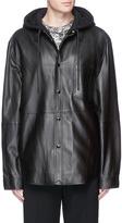 Alexander Wang French terry hood lambskin leather jacket