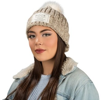 Aerusi Cable Knit Beanie with Removable Plush Pom