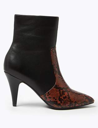 M&S CollectionMarks and Spencer Leather Snakeskin Print Stiletto Ankle Boots
