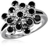 Ice 1 CT TW Round Black and White Diamond Sterling Silver Cocktail Ring by JewelonFire