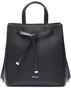 HUGO Bucket bag in Saffiano leather with drawstring detail